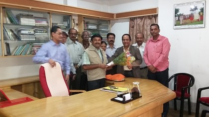 Felicitation to Prof. Tapas Sarkar, newly elected Sabhadhipati of Siliguri Mahakuma Parishad and a member of NBUAA on Nov. 18, 2015